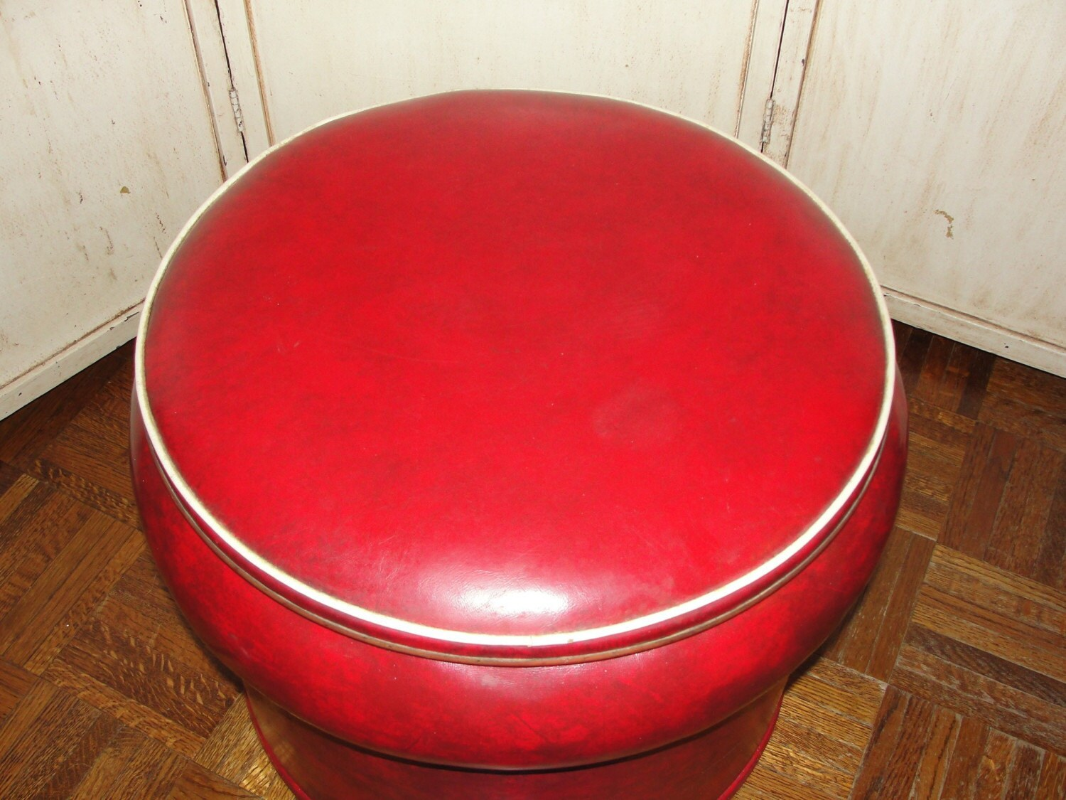 Vintage Ottoman Footstool Hassock Red Storage Table Container Organizer