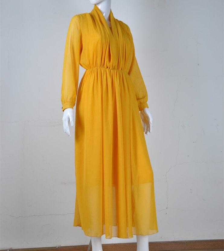 Dress yellow pleated wedding dress bridesmaid dress chiffon long dress
