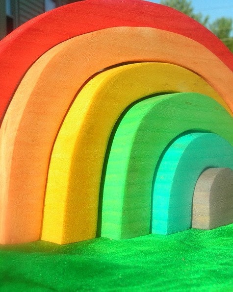 Large Wooden Rainbow Stacker Toy