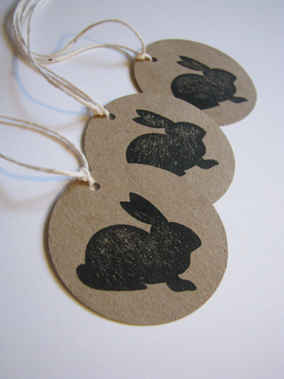 Brown Paper Tags - cute bunny silhouette