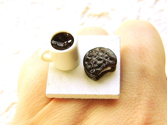Coffee Ring Cute Food Jewelry Ring Chocolate By