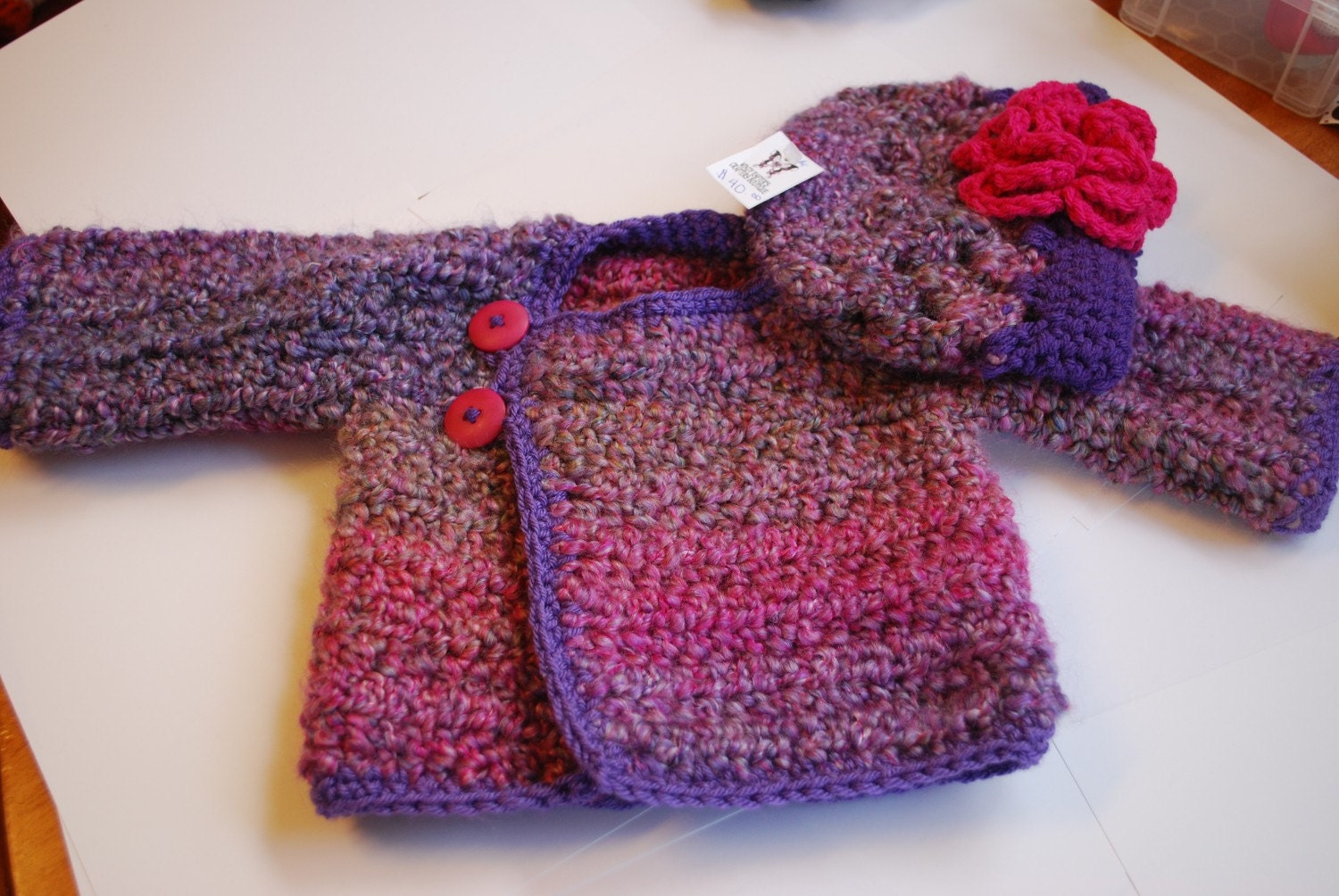 0-6m OH SO CUTE Boutique Hand Crochet Hat and sweater Set