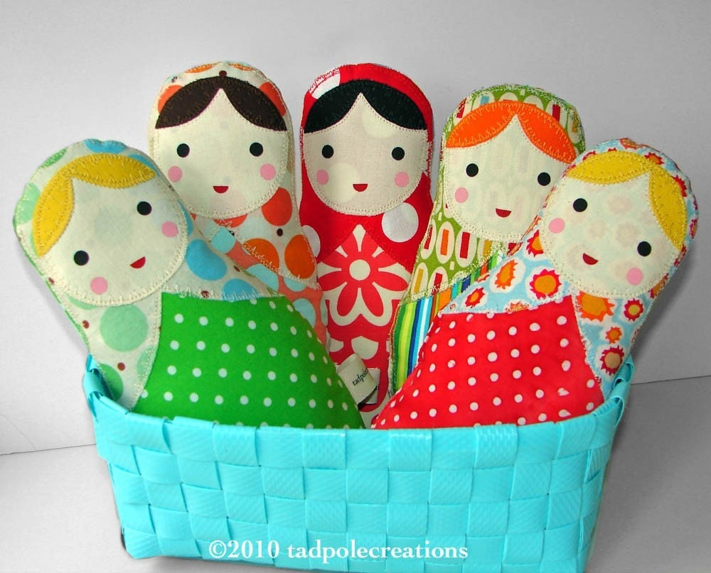 Pick 3 - Three Babushka Russian Cloth Dolls for Baby or Toddler - PICK ANY 3 OF MY DESIGNS - FREE SHIPPING