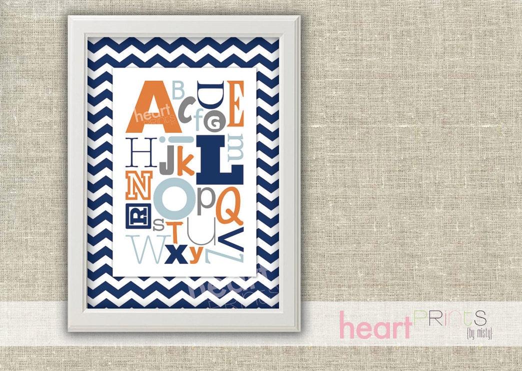Navy Blue Wall Decor Nursery : Alphabet chevron nursery wall art navy blue by
