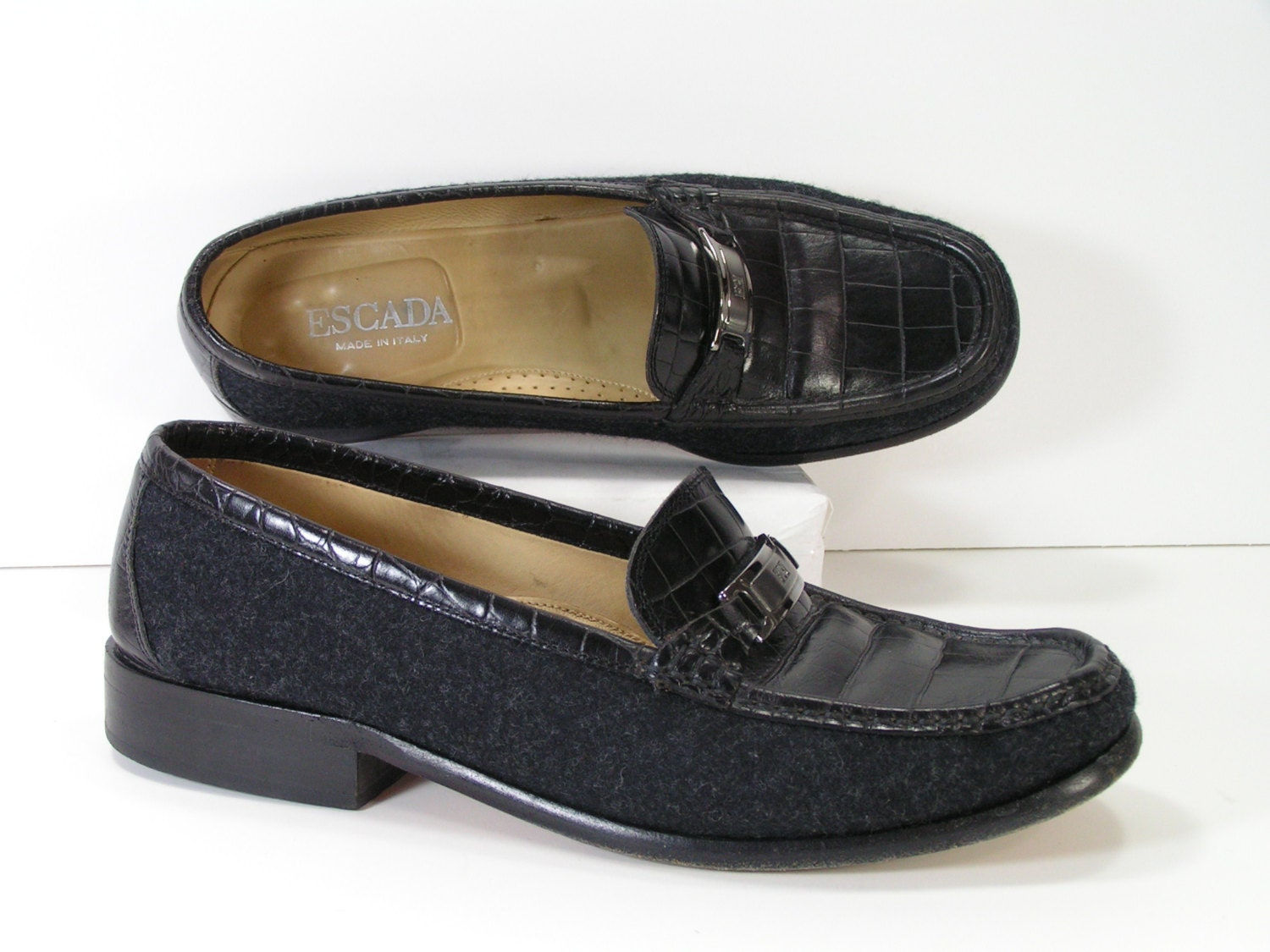 escada black dress shoes womens 7 m b loafers moccasins embossed