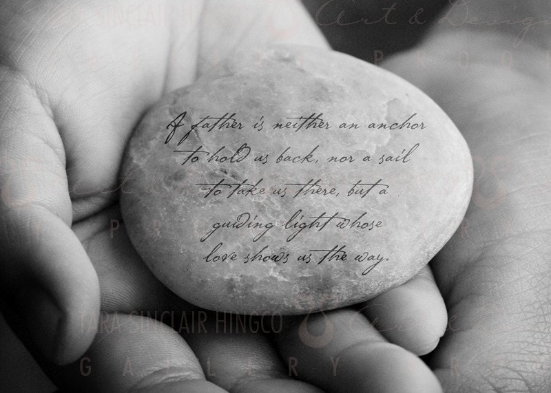 Father's Day Gift - Inspirational Dad Quote -  Personalized gift for father with message on Stone - 8x10 Matted Photograph - inspiredartprints