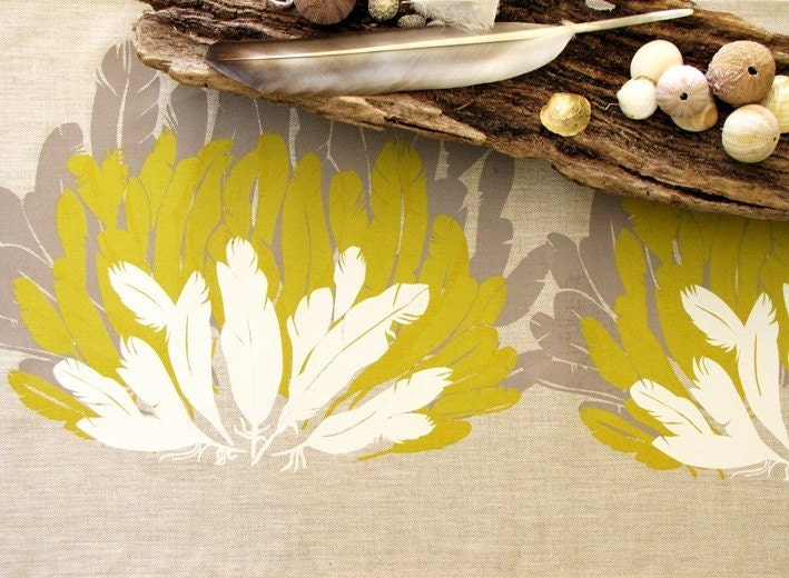 Feather Table Runner 1.8m 71inch handprinted on Eco Friendly Linen - Taupe Mustard Cream