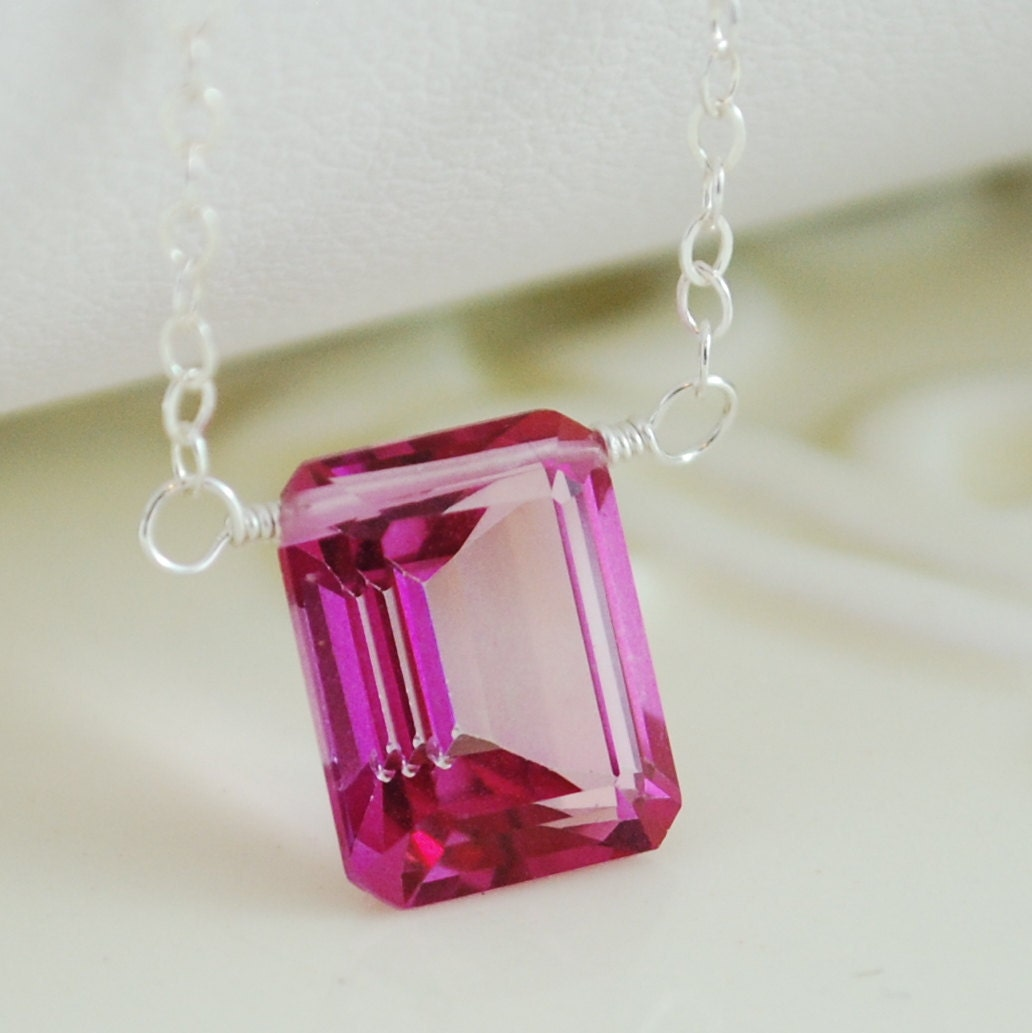 Pink Topaz Necklace Silver Emerald Cut Jewelry