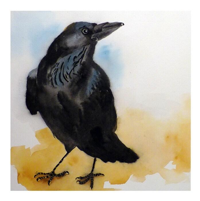 Bird Art Print Raven Crow Black by LaBerge on Etsy