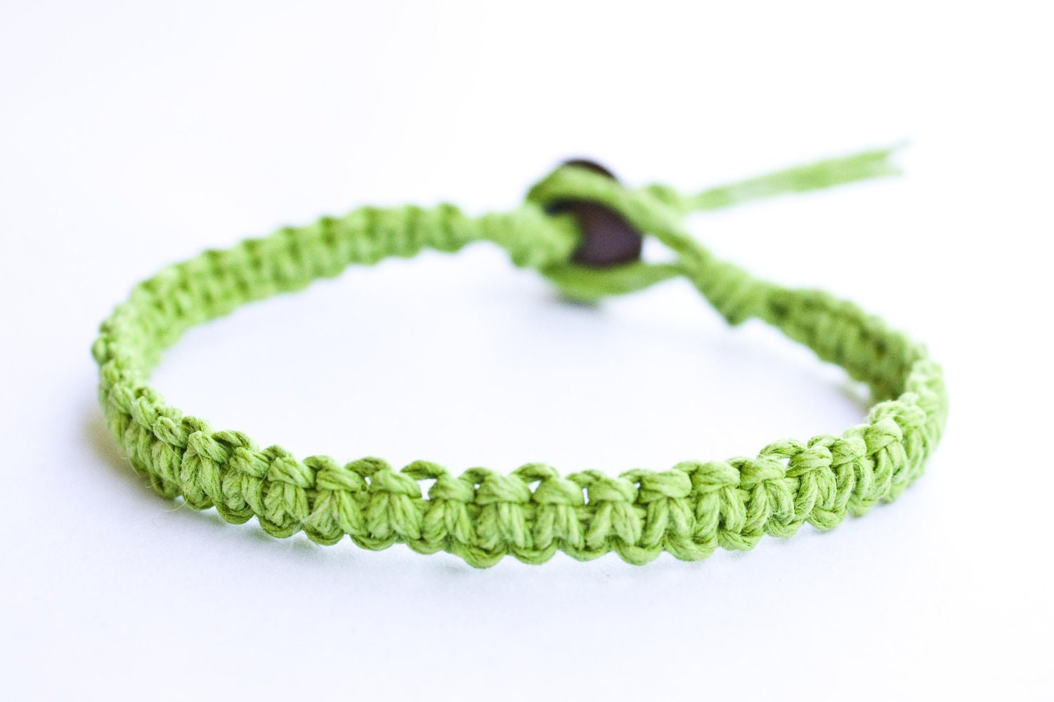 Lime Green Hemp Bracelet Friendship - StarlitMoonDesigns