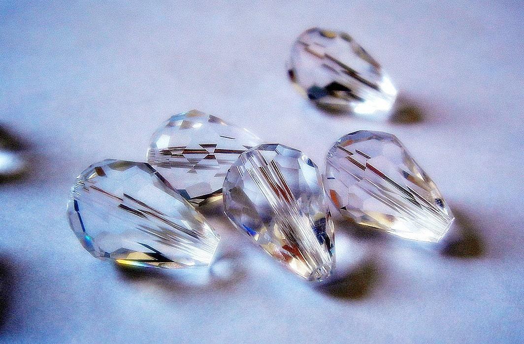 Clear Czech Glass Beads Set of 10 10mm x 13mm