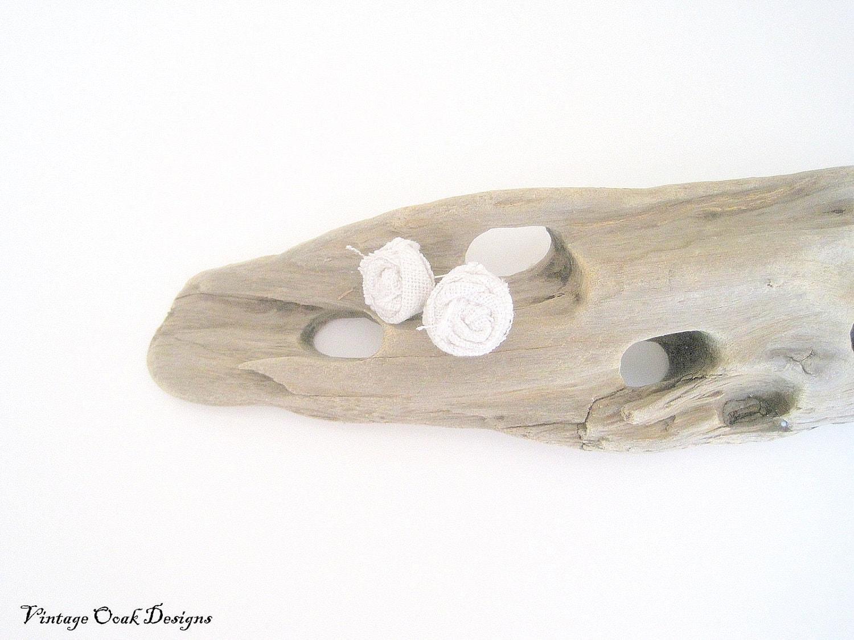 linen rosette earrings, cream earrings, nature inspired, fiber earrings, summer fashion, flower earrings, bridesmaid gifts - VintageOoakDesigns