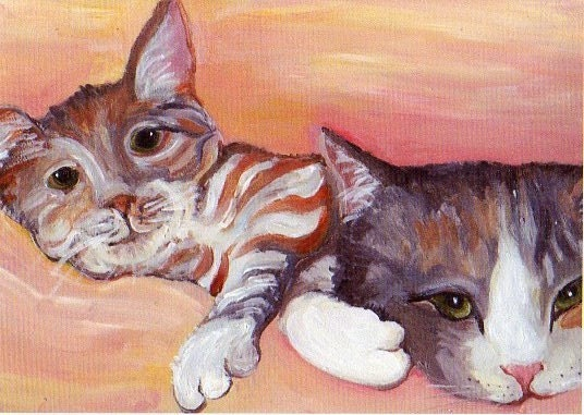 ACEO Double Trouble Kittens as Teenager Cats - All Proceeds to Cedarhill Animal Sanctuary