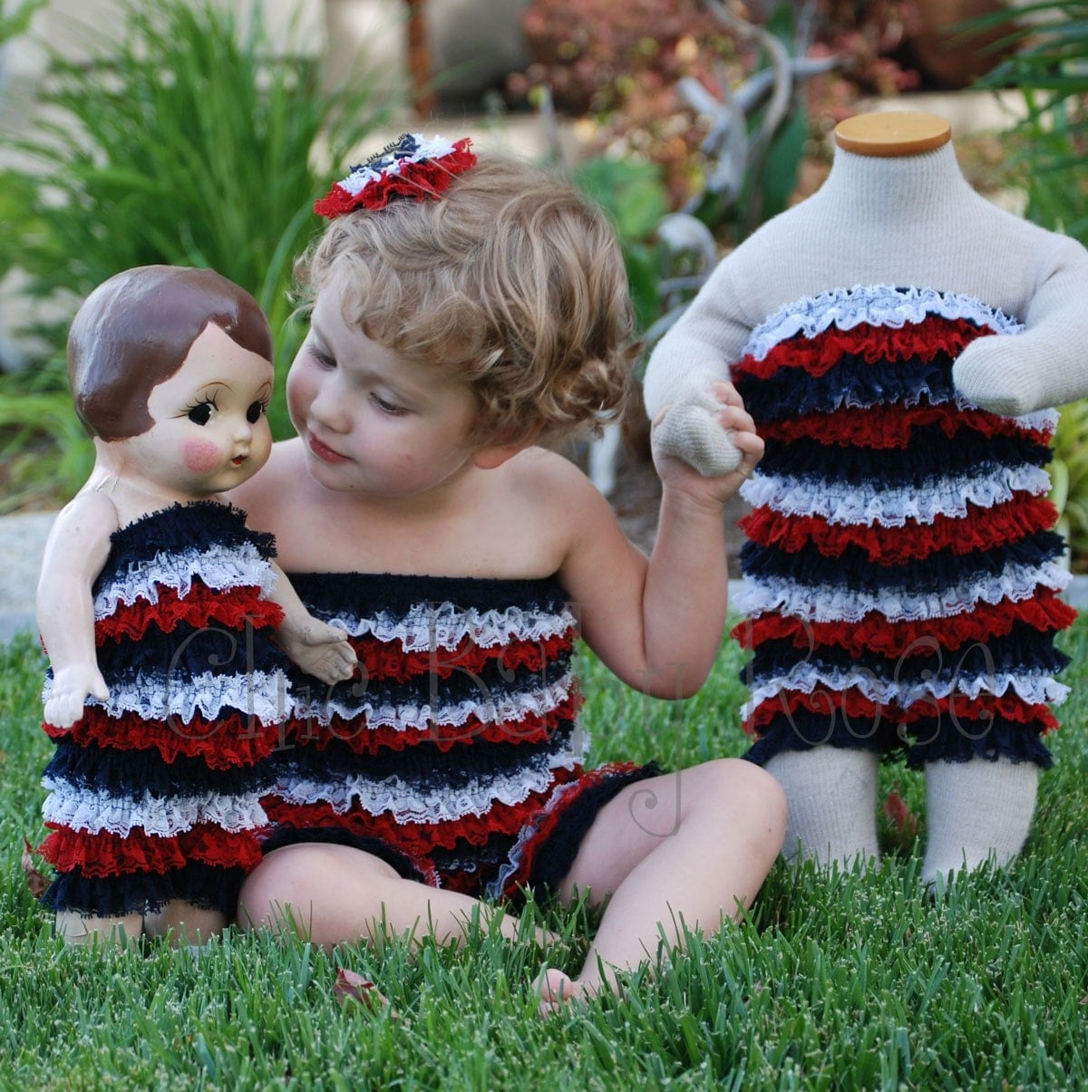 CHIC BABY ROSE PATRIOTIC COLLECTION BIG GIRL PETTI ROMPER GREAT PHOTO PROP