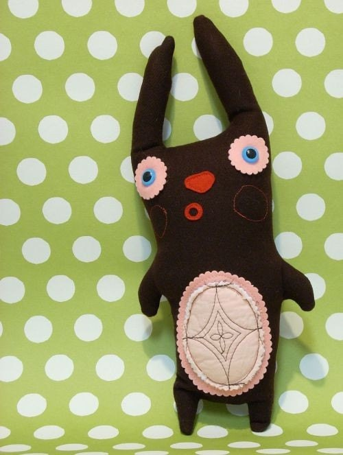 Choco Bunny, Wool Plushy Pal