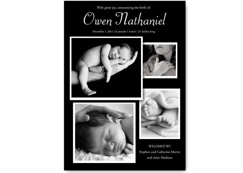 Classy Photo Collage Birth Announcement. Personalized to announce your baby