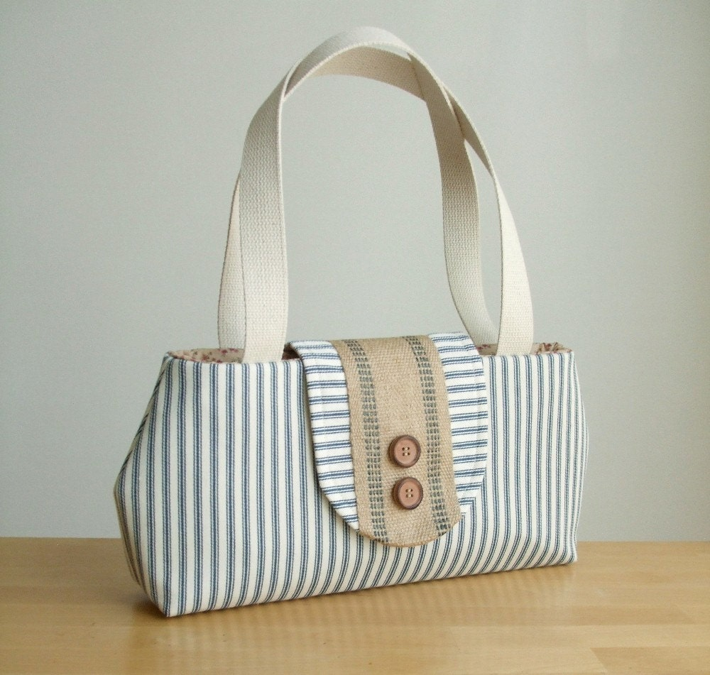 The Jewel Cut Purse in a Classic Ticking Stripe