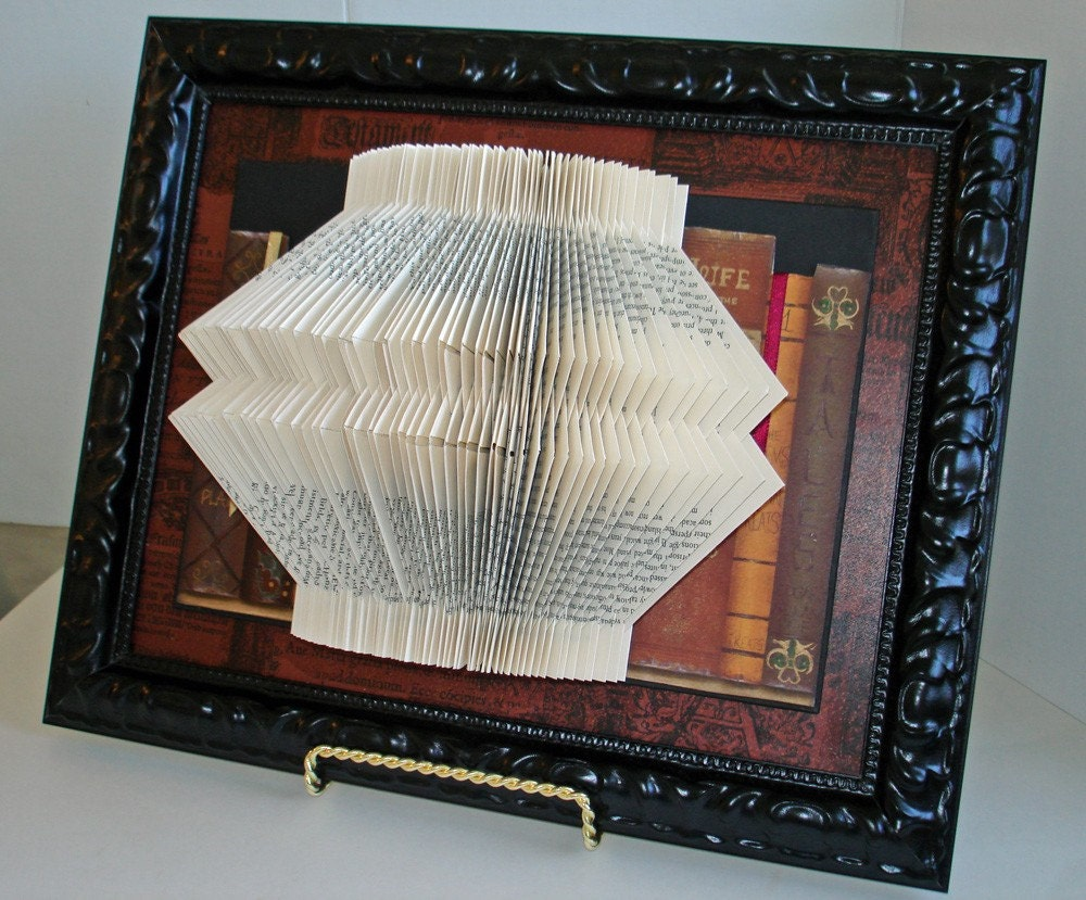Book Sculpture of Recycled Book and Collage of Wallpaper, Framed