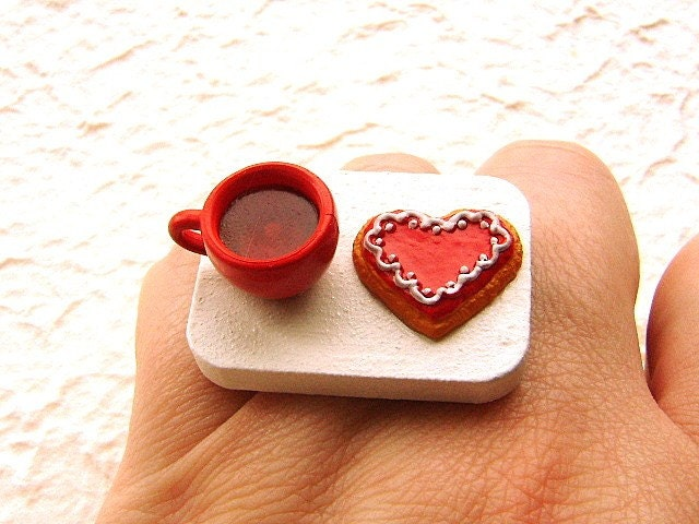 Heart Shaped Cookie And Tea Ring at @etsy By @souzoucreations