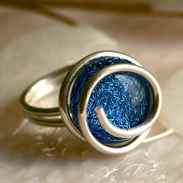 Wire Wrapped Dichroic Glass Ring - GetGlassy