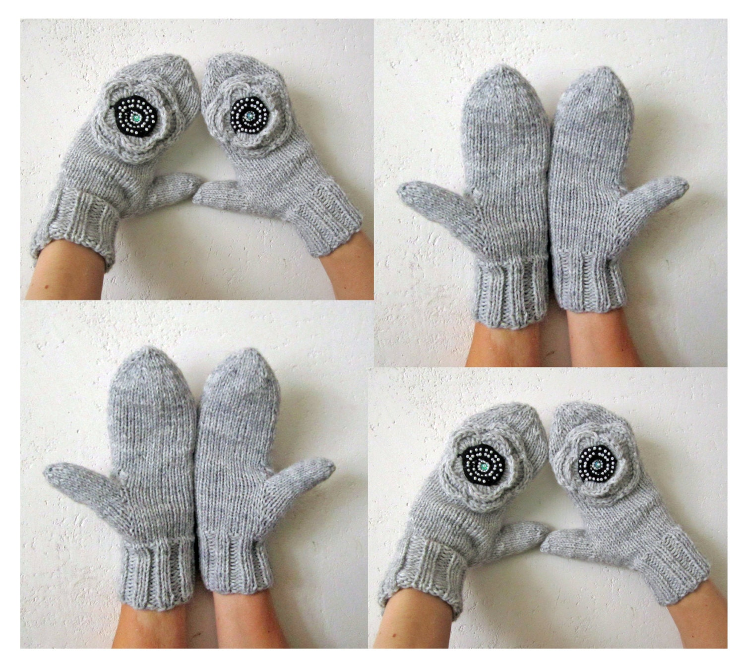 Knit mittens, Hand knitted mittens, Grey mittens with crochet flowers, womens grey gloves, winter mittens - MAMMBAaccessories
