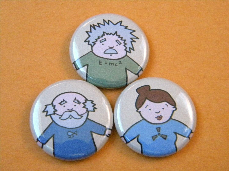 Famous Scientist Button Set