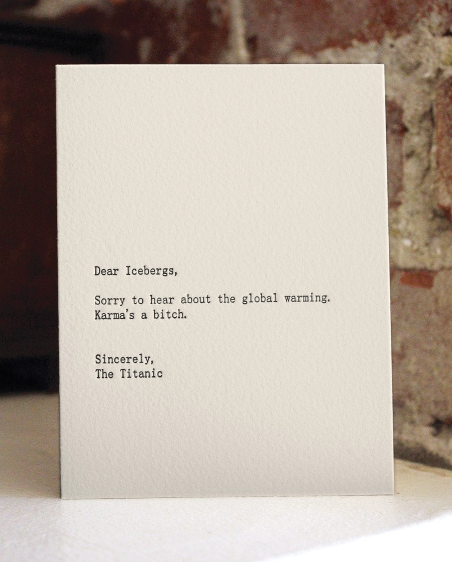 dear icebergs. letterpress card