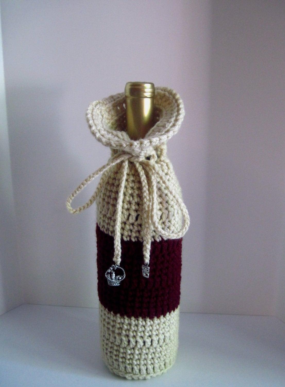 Wine Bag Wine and Cheese Crochet Wine Bottle by CrochetCluster