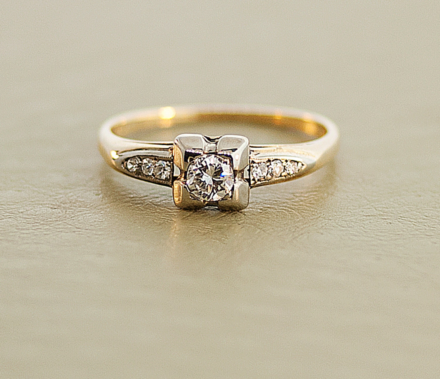 vintage engagement ring 14k two tone by sitfinejewelry