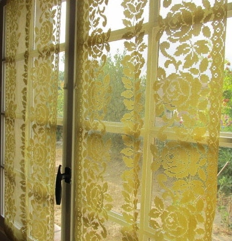 Yellow Kitchen Curtains Yellow Rose Panels Pair By