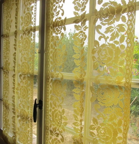 yellow kitchen curtains yellow rose panels pair french lace curtains