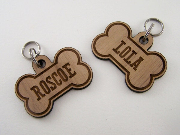 Wooden Pet ID Tags Custom Dog Bone Collar Charm by Cropscotch: www.etsy.com/listing/100921677/wooden-pet-id-tags-custom-dog-bone