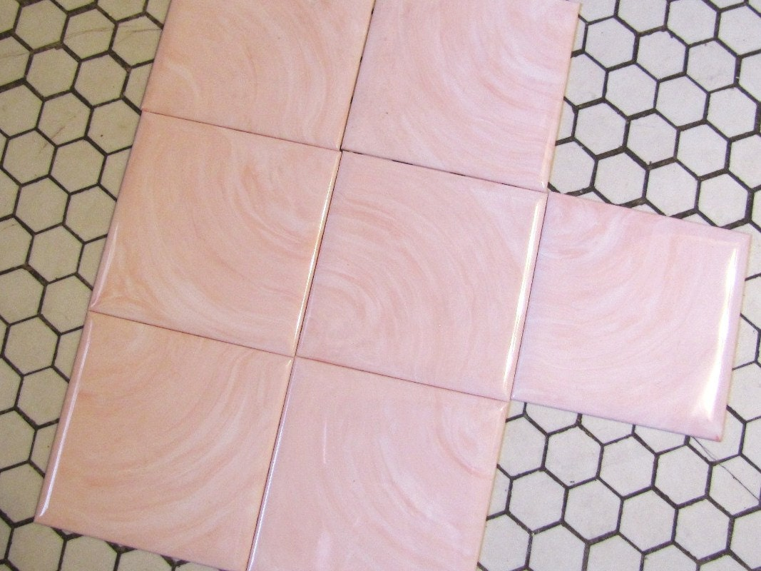 1950 39 s pink swirl plastic tile montgomery wards by for Pink bathroom tile from the 1950 s