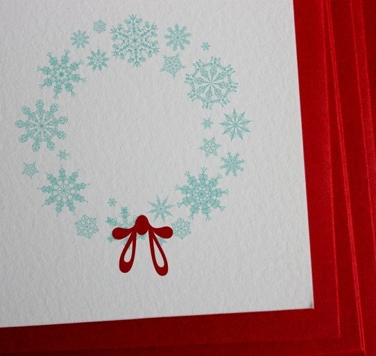 Printable, Giftables-Snowflake Wreath Stationery