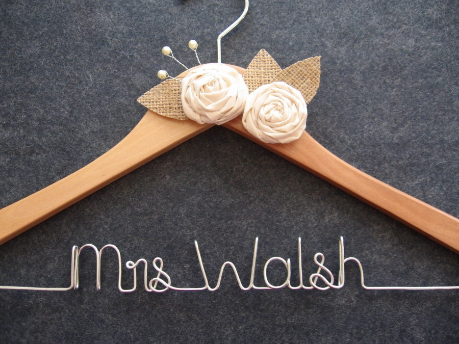 RUSTIC Bridal Hanger - Personalized Wedding Dress Hanger - Natural Finish with Muslin Flowers, Pearls and Burlap Leaves - Custom Wire Name