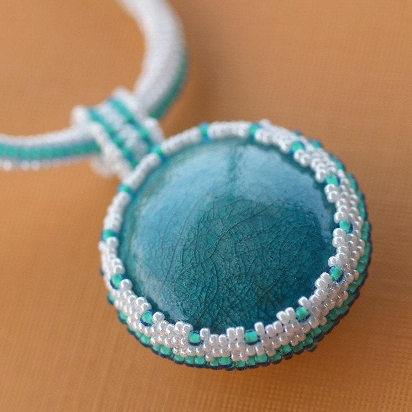 Turquoise with a Twist - Raku Pendant on Herringbone Rope