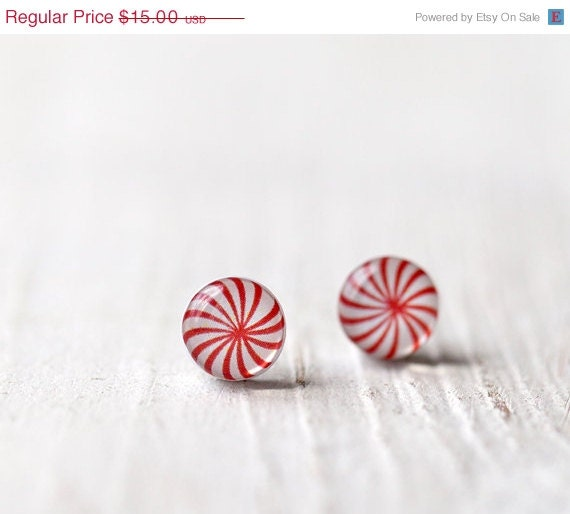 Peppermint stud earrings - Black friday etsy, Cyber monday etsy - Christmas jewelry - Candy jewelry for her (E099) - BeautySpot