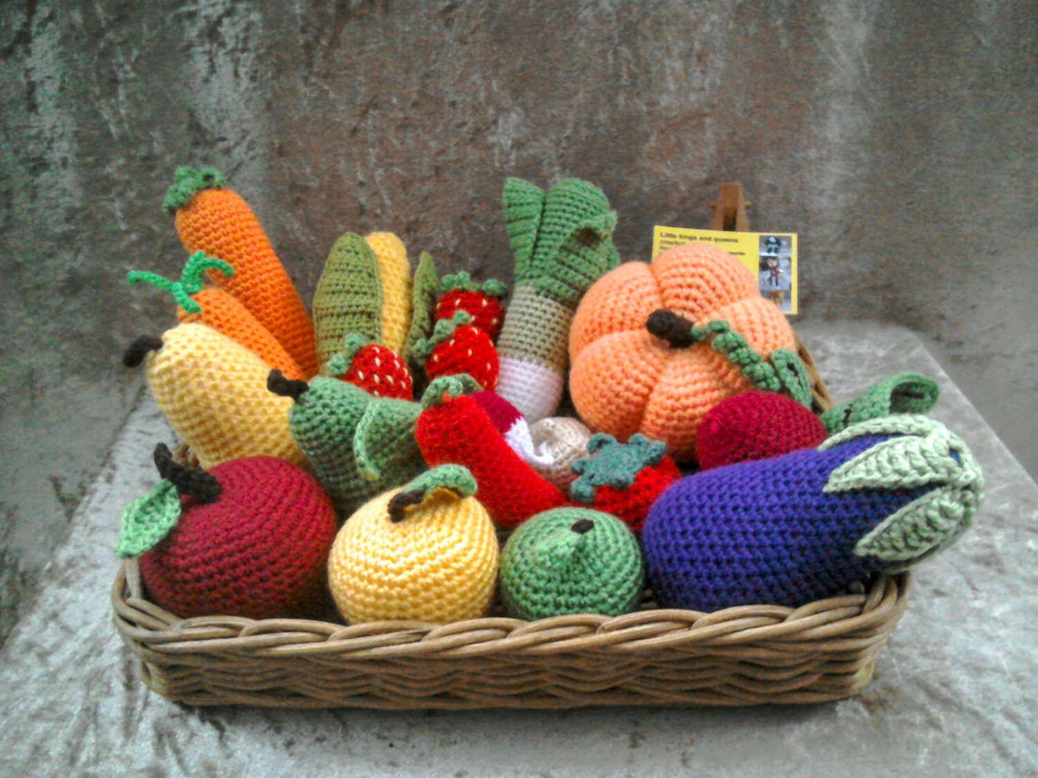 26pc Play food set crochet pretend food pretend play crochet vegetables Montessori toys tactile toys play kitchen food nursery decor