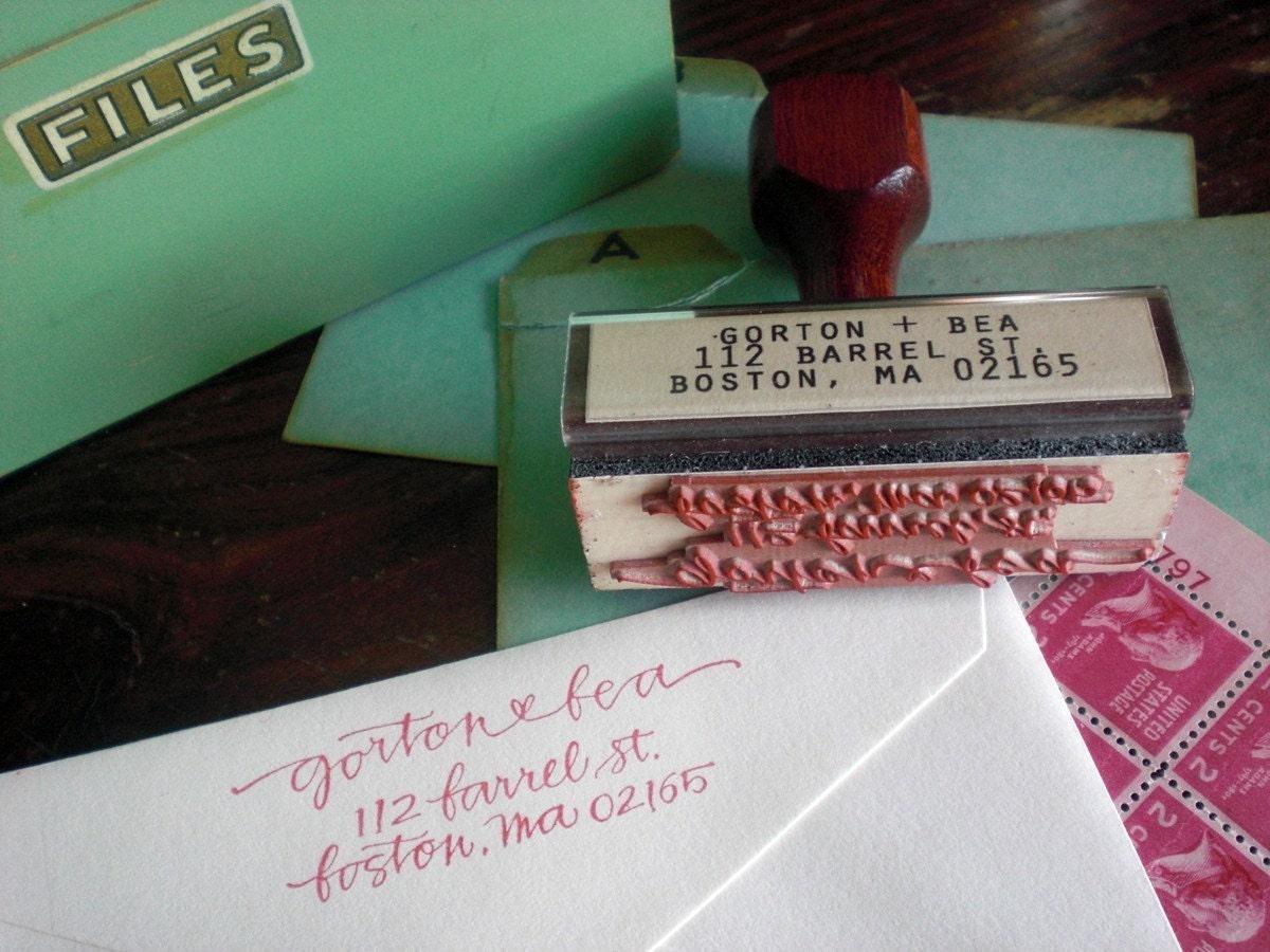 return address stamp - simple - custom calligraphy
