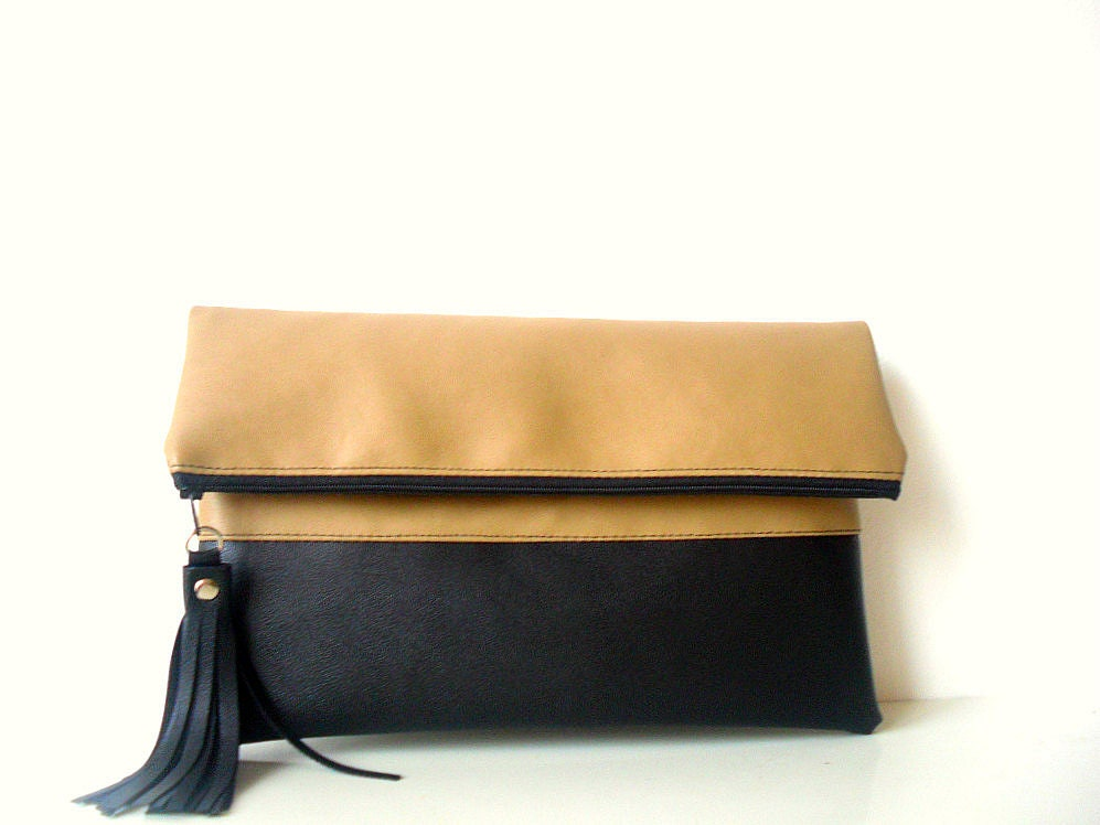 clutch purse fold over leather clutch tan beige black by. Black Bedroom Furniture Sets. Home Design Ideas