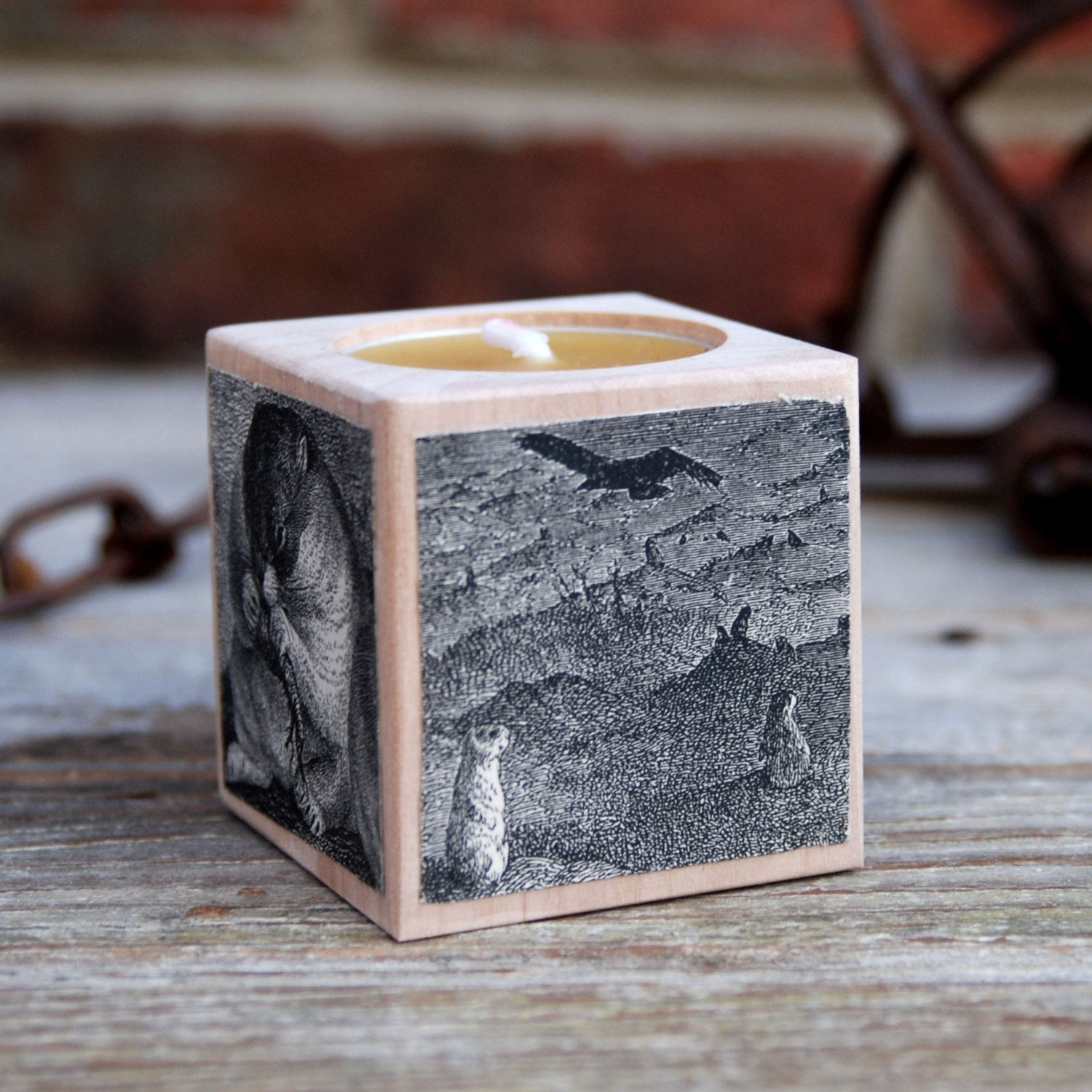 Snuggly grass rolling Bobac - Small Birch Candle Block with Victorian Etchings