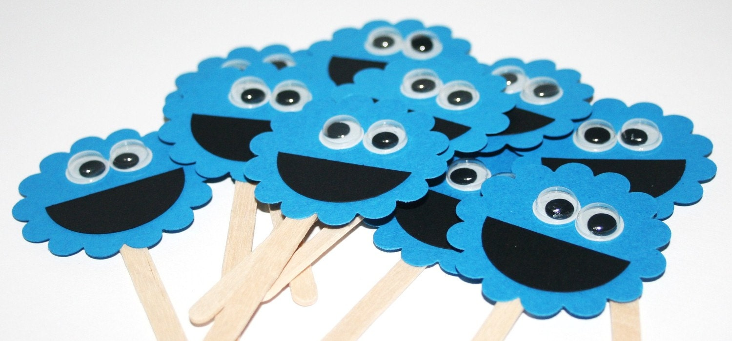 Handmade Cookie Monster Cupcake Cake Toppers Set of Ten