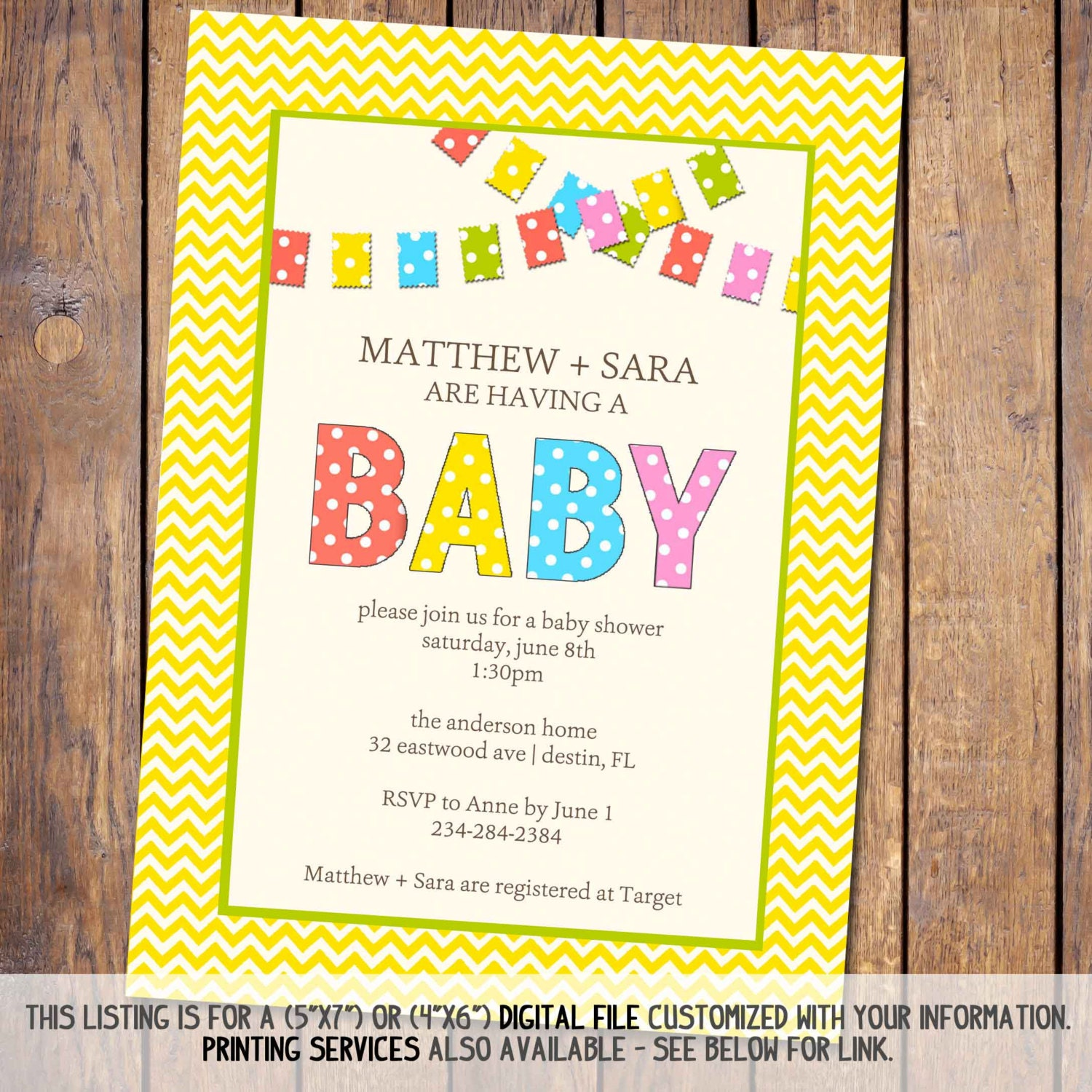 gender neutral baby shower invitation with banner and chevron coed