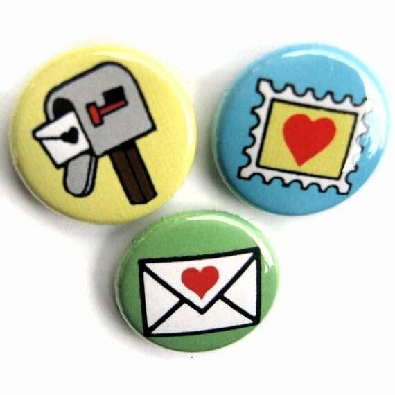 Postal Love 1 inch pinback button set