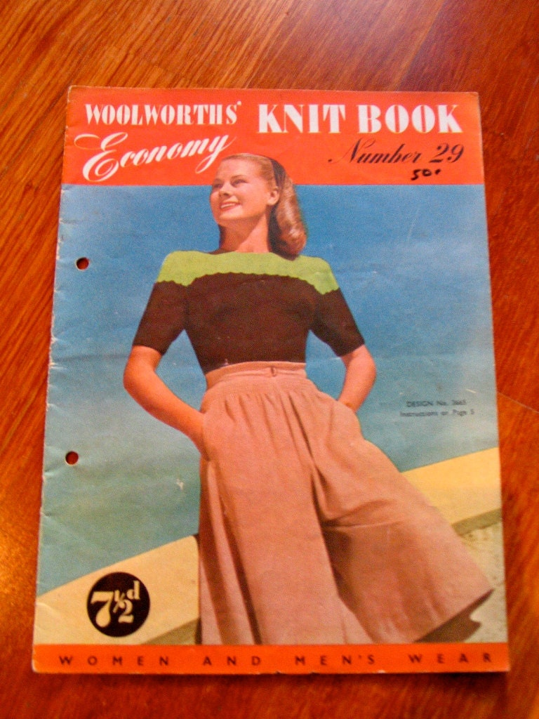 Vintage 1940s Knit Pattern Book - 'Woolworths Knit'