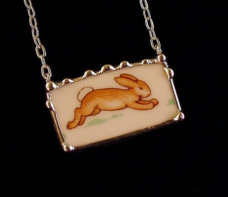 Bunnykins running bunny broken plate broken china jewelry rectangular necklace