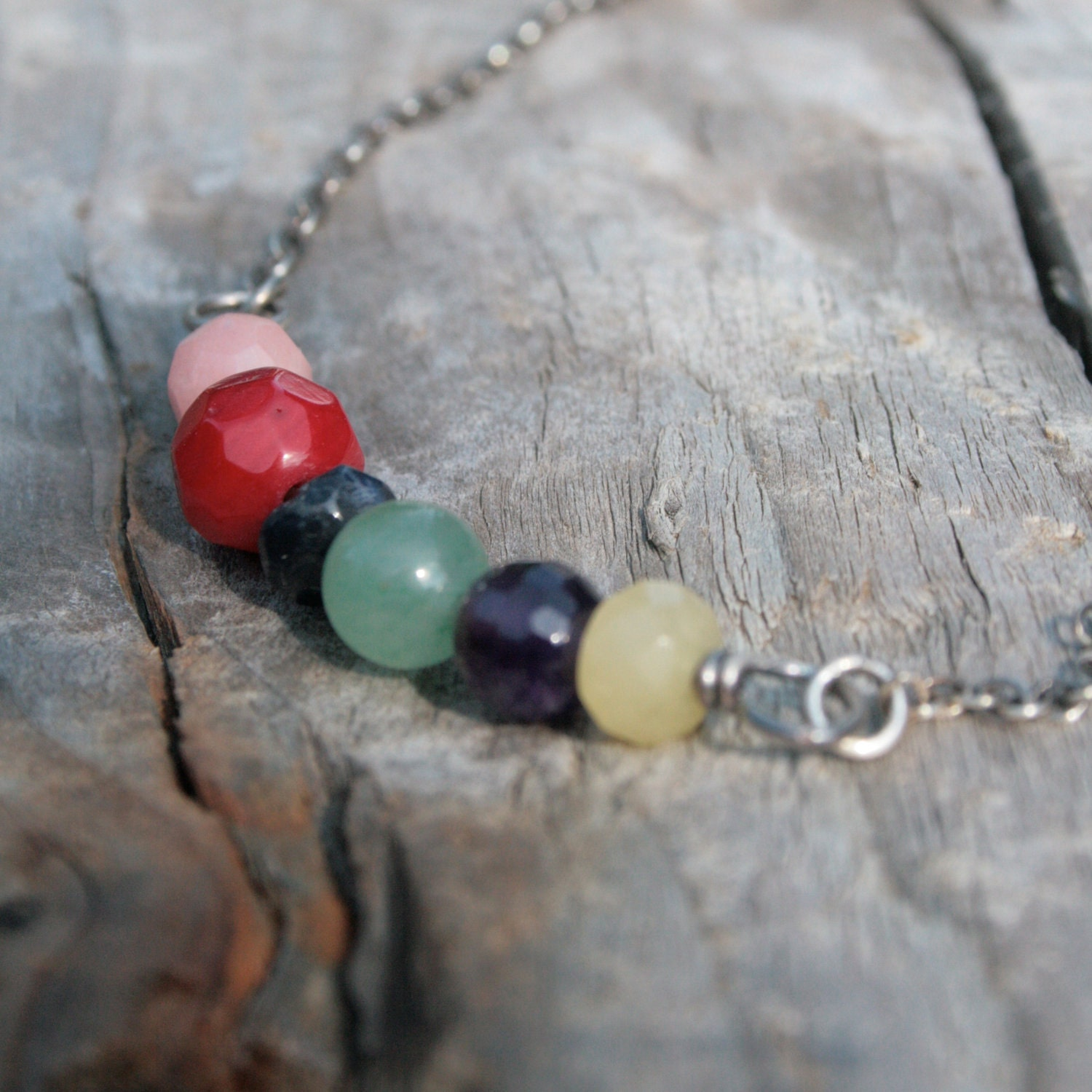 Colorful Gemstone and Sterling Silver Necklace, Fruit Salad