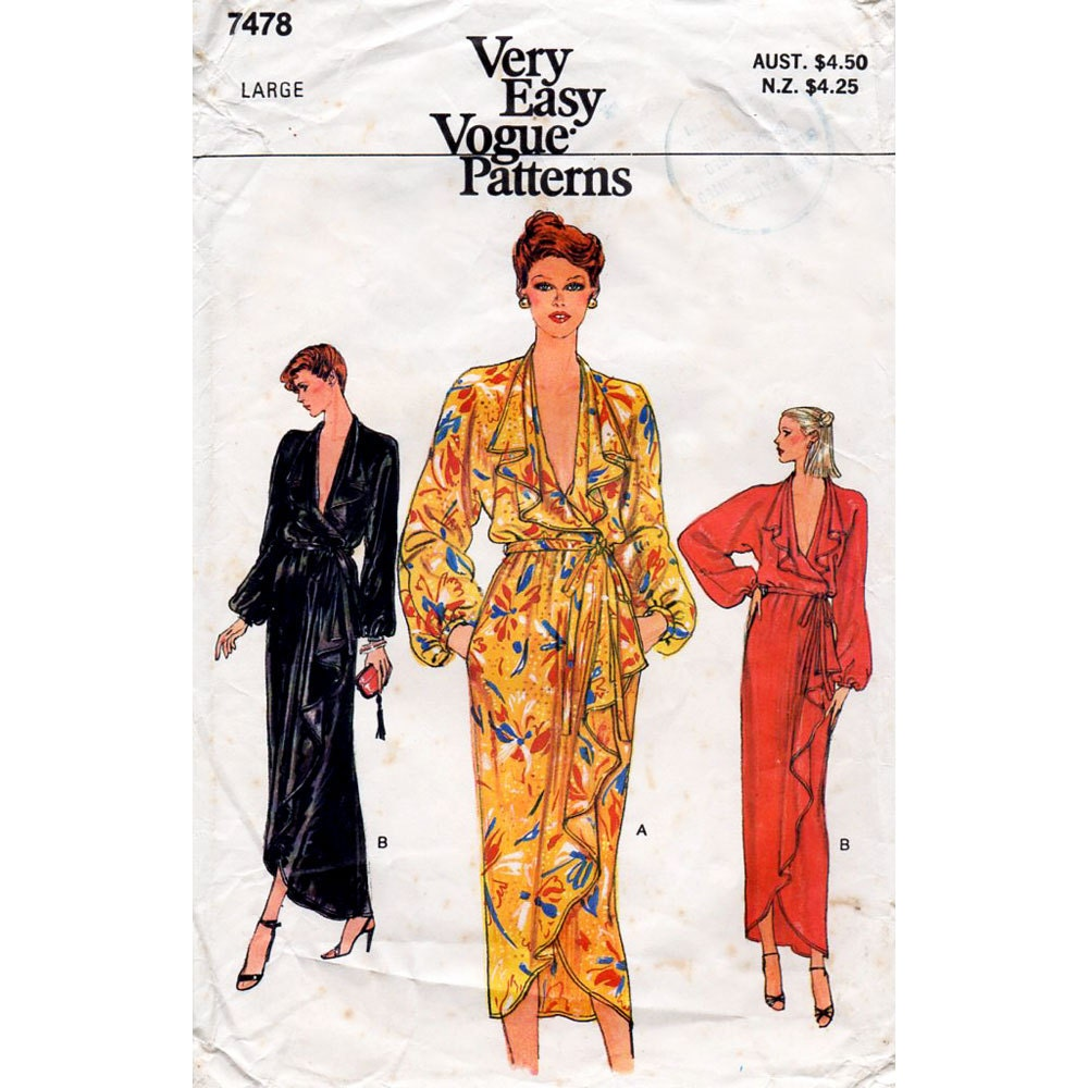 1970s Front Wrap Dress Disco Era Vintage Sewing by ...