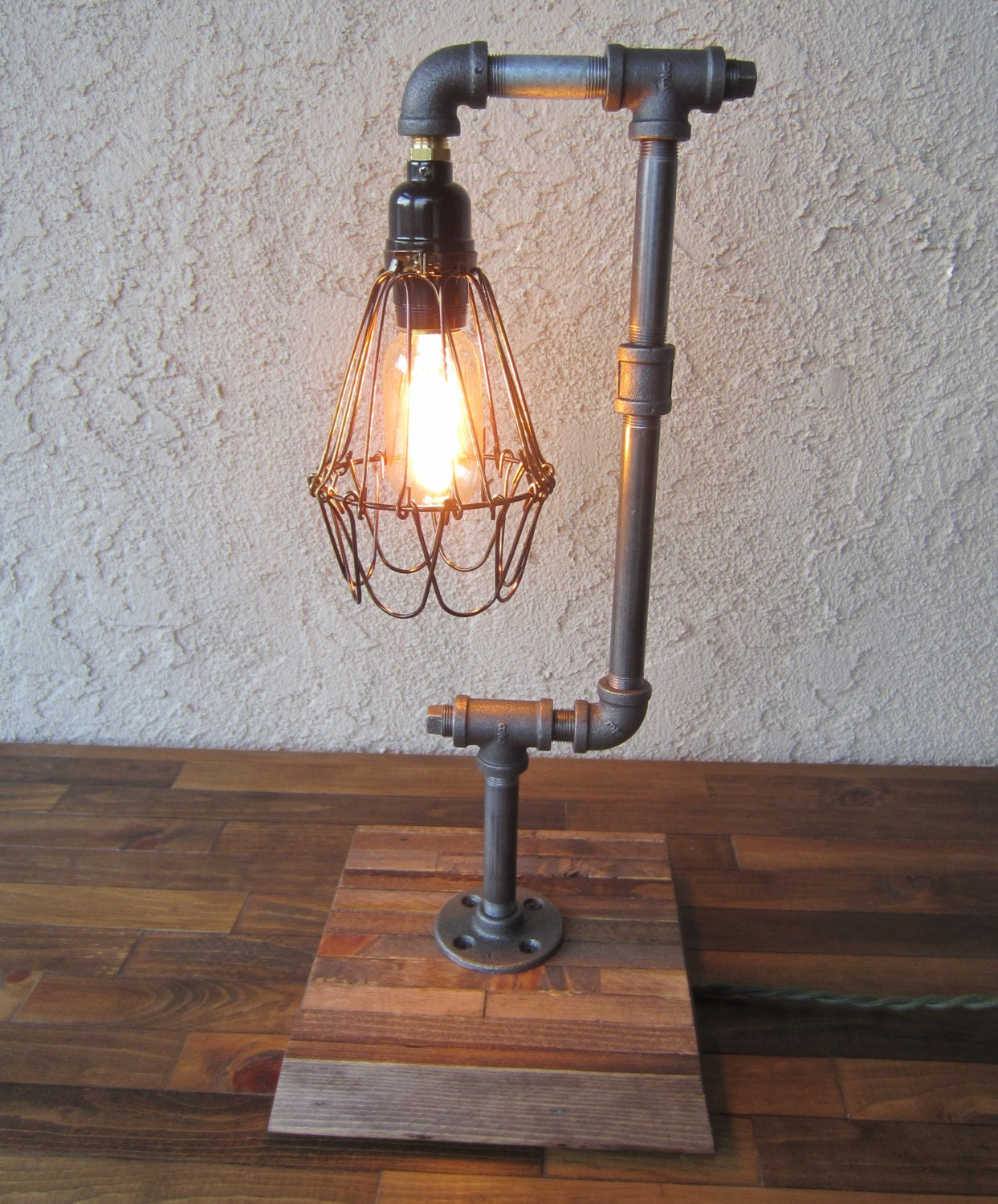 Edison Trouble Light Desk Lamp Vertical, Pipe, Reclaimed Wood Base ...