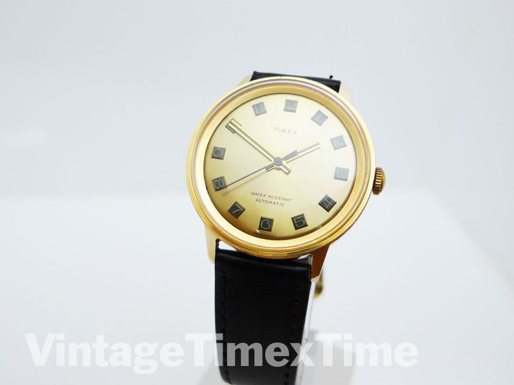 Timex Marlin Mens Watch 1974 Gold Dial Automatic Wind Movement
